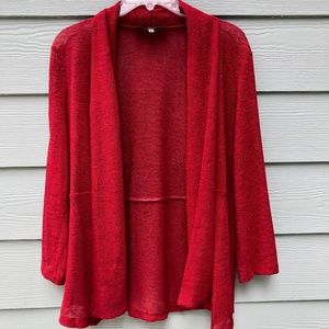Kasper Open Front Red Cardigan Petite Medium